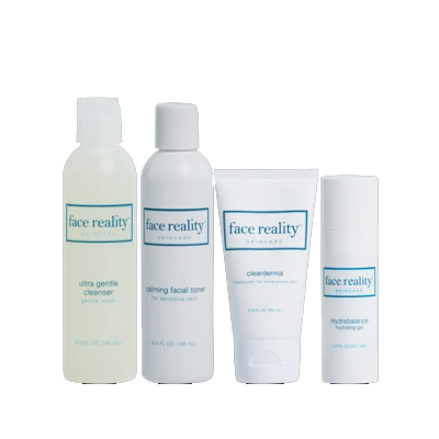 Acne clearing bundle of 4 effective acne fighting products: cleanser, toner, hydrating gel and moisturizer.
