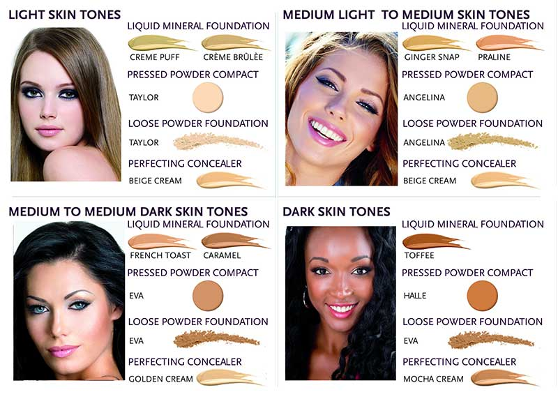 Advanced Mineral Makeup Colors for pressed powder.